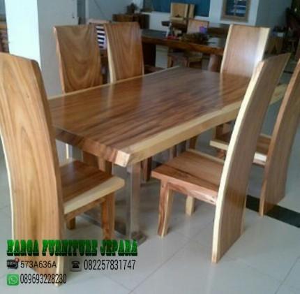 Meja makan minimalis kayu trembesi solid